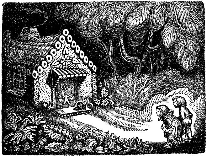 hansel and gretel black and white