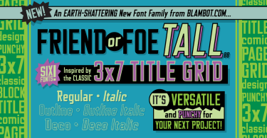 Friend Or Foe Tall Bb [ 6 Fonts] | The Fonts Master