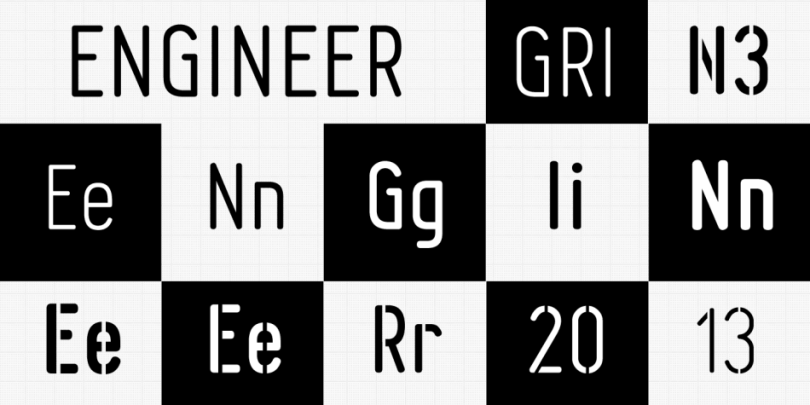 Engineer [10 Fonts]   The Fonts Master