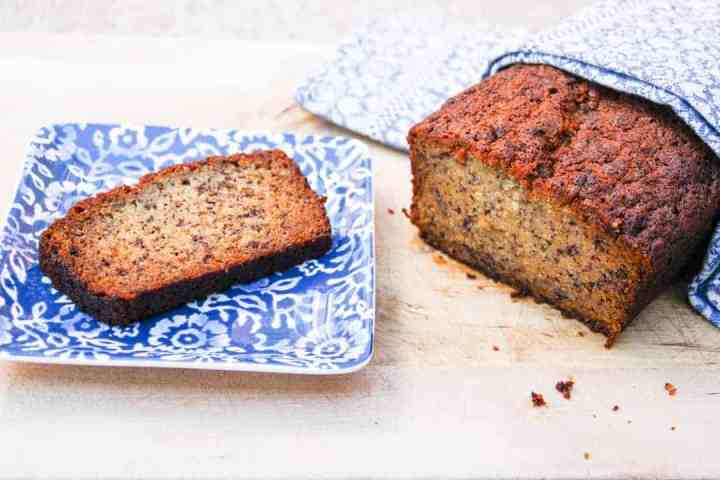 A piece of cake on a plate, with Banana bread