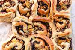 Cinnamon Buns with Peaches and Pecans