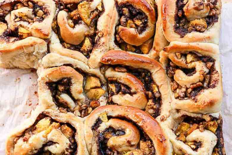 A close up of a pan of cinnamon rolls
