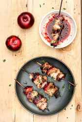 Grilled Plum & Pork Kebabs