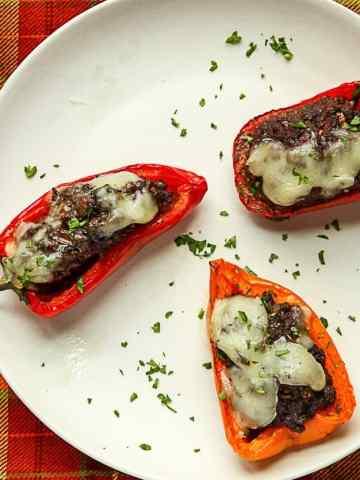 Black Bean Portobello Stuffed Mini Peppers