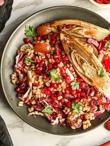 A plate of food on a table, with Farro and Endive