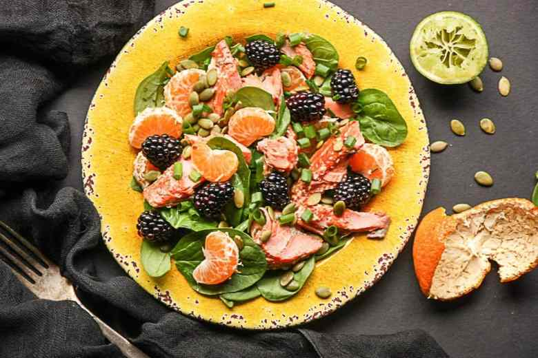 Salmon, Spinach, Mandarin Orange Salad