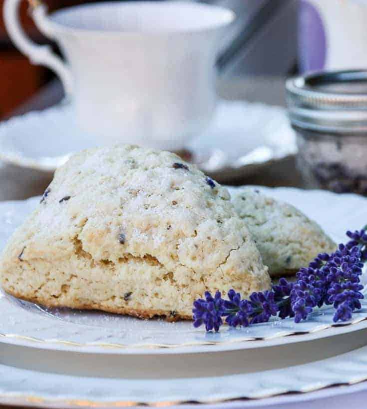 A scone on a plate, with lavender