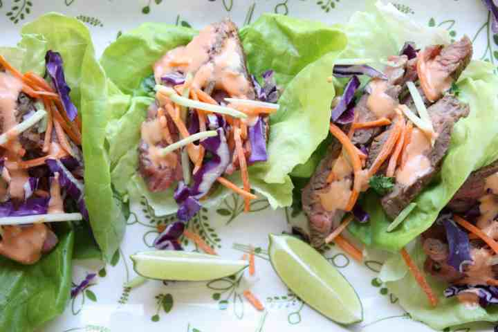 A lettuce wrap with Flank steak