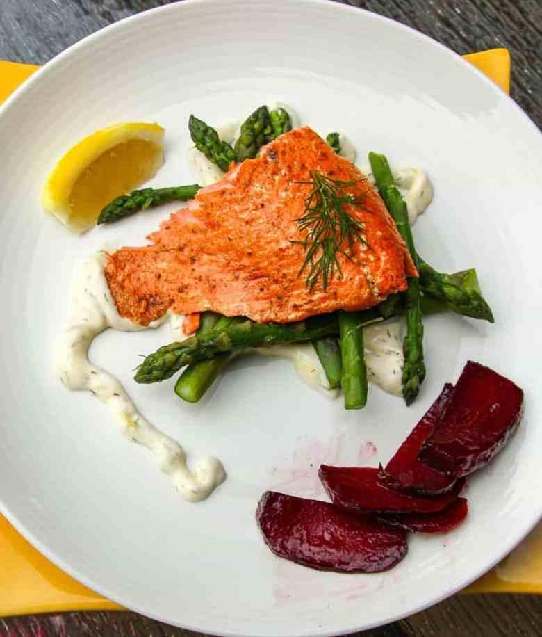 Alder Planked Salmon with Lemon Dill Aioli