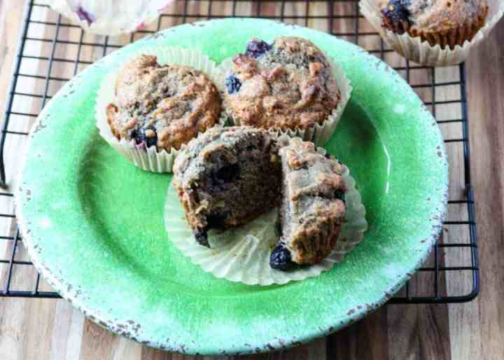 Three muffins on a green plate