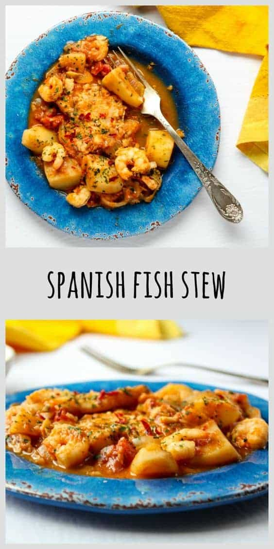 Spanish Fish Stew on a blue plate.