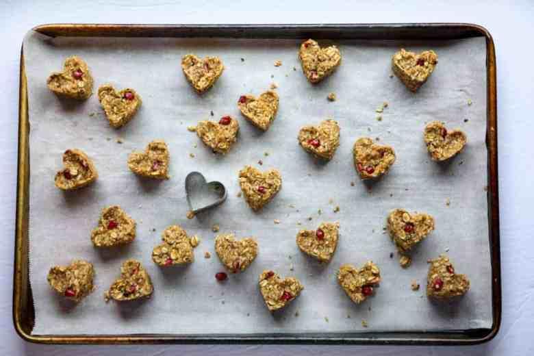 A tray of heart-shaped oatmeal snacks