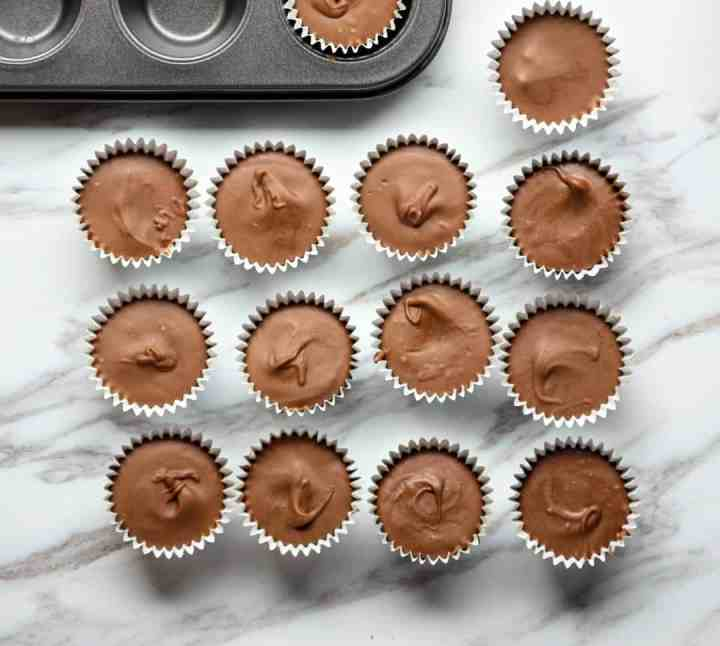 Chocolate peanut butter cups on a countertop