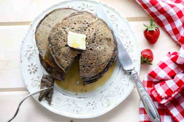 Pancakes on a plate with a knife & fork