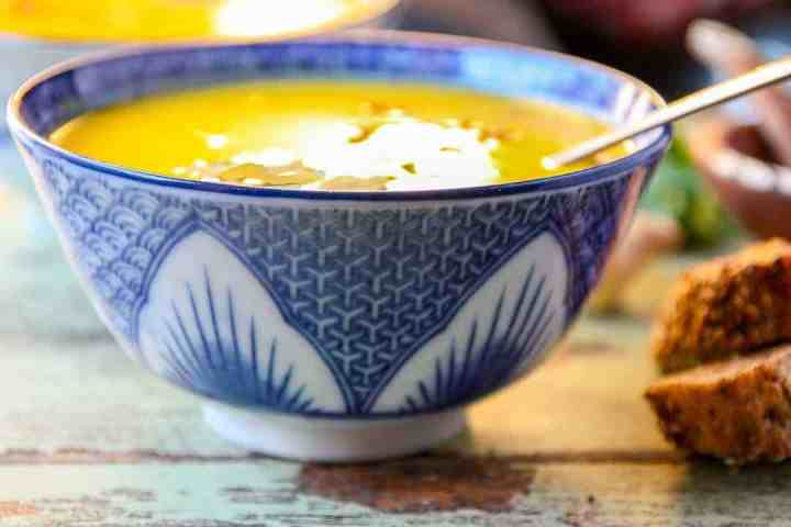A close up of a bowl of soup