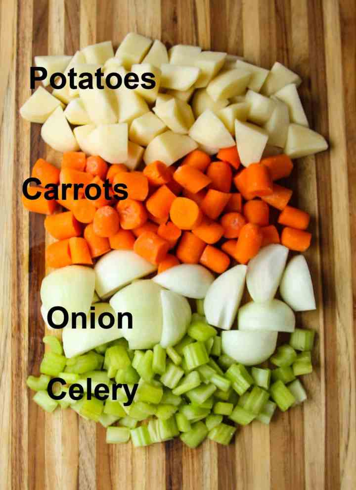 Cut vegetable ingredients for this recipe