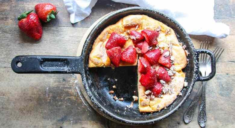 Strawberry Pecan Oven Baked Dutch Baby