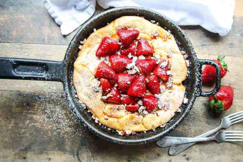 Gluten Free Dutch Baby Pancake with Strawberries and Pecans