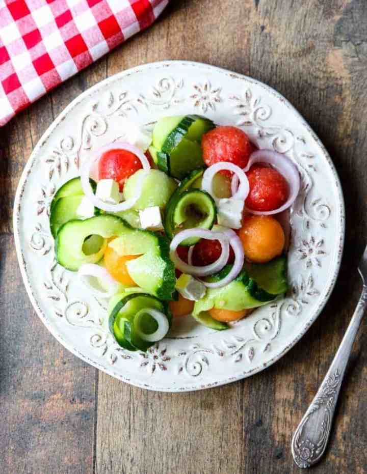 Cucumber Melon Salad with Feta Cheese & Pickled Onion