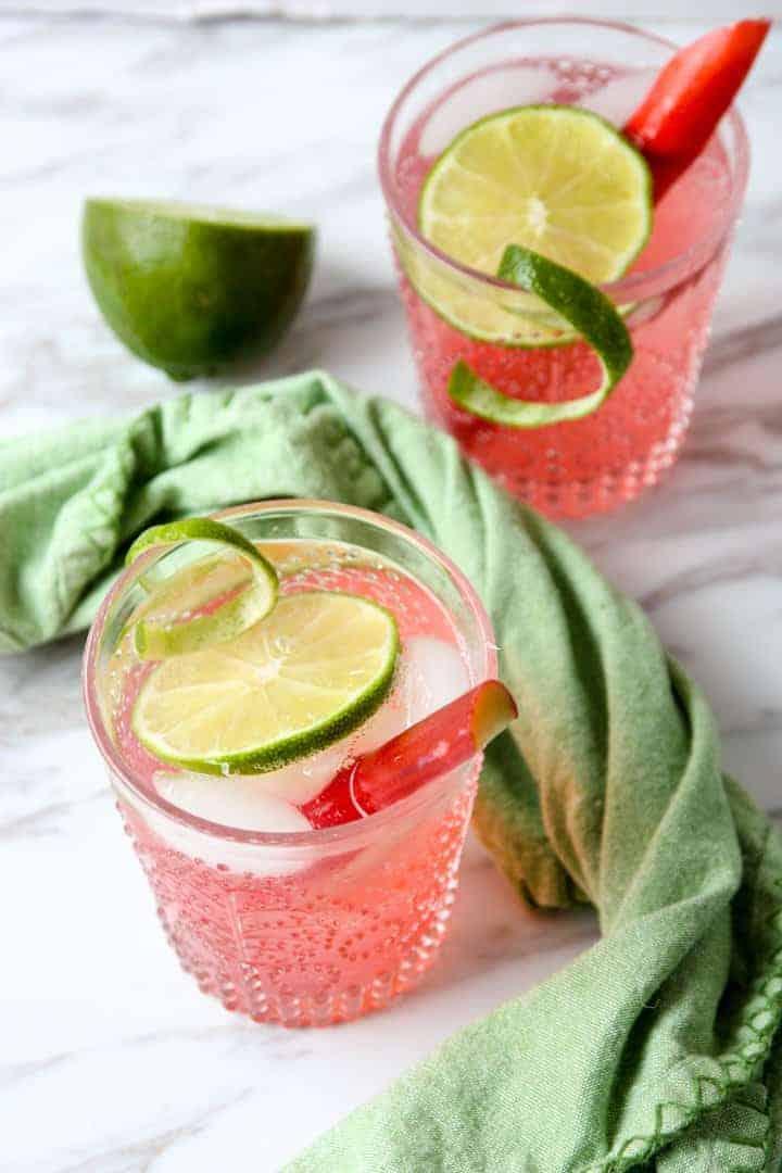 Rhubarb Gin & Tonic Cocktail