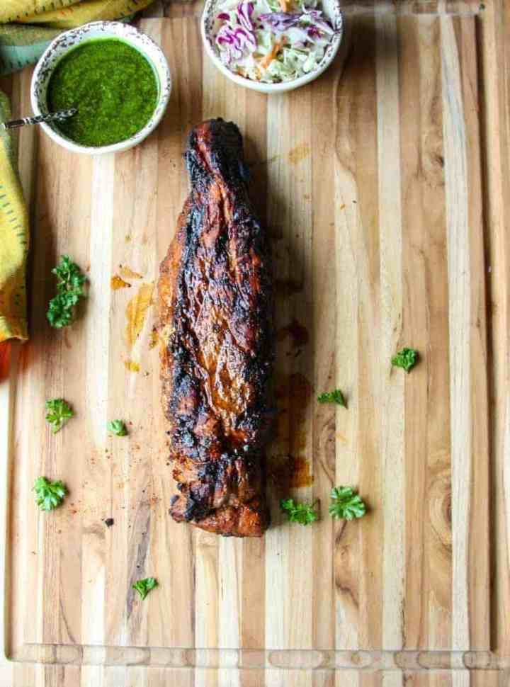 Pork Tenderloin Grilled and served with Chimichurri sauce