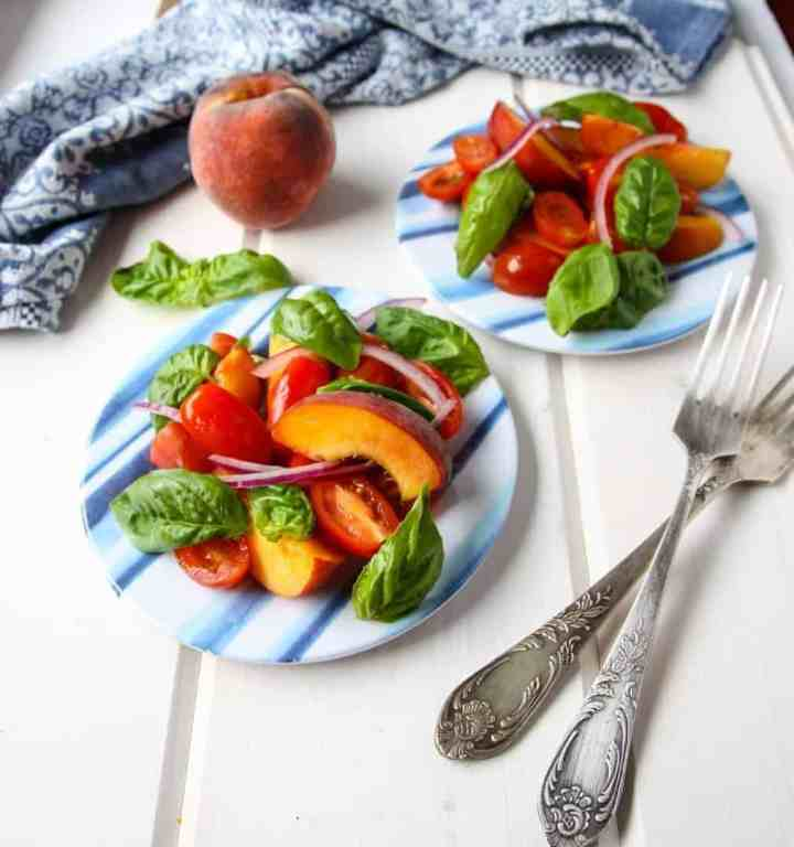 Peach & Tomato Salad with Basil
