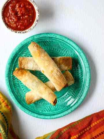 Baked Breakfast Taquitos with Salsa Dip