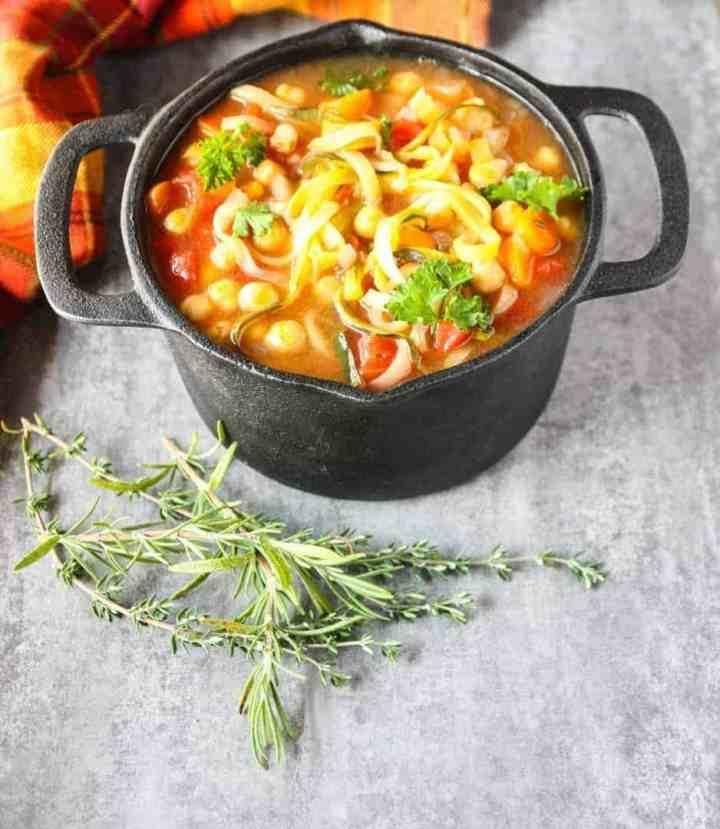 A pot of vegetable soup