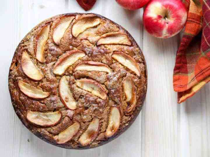Apple Ricotta Cake topped with Apple Slices