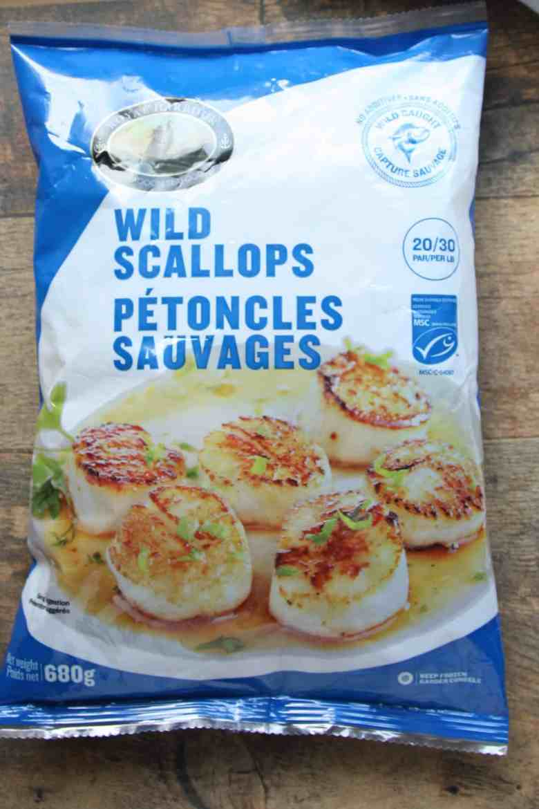A bag of frozen scallops