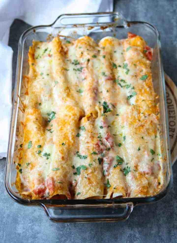 A pan of enchiladas