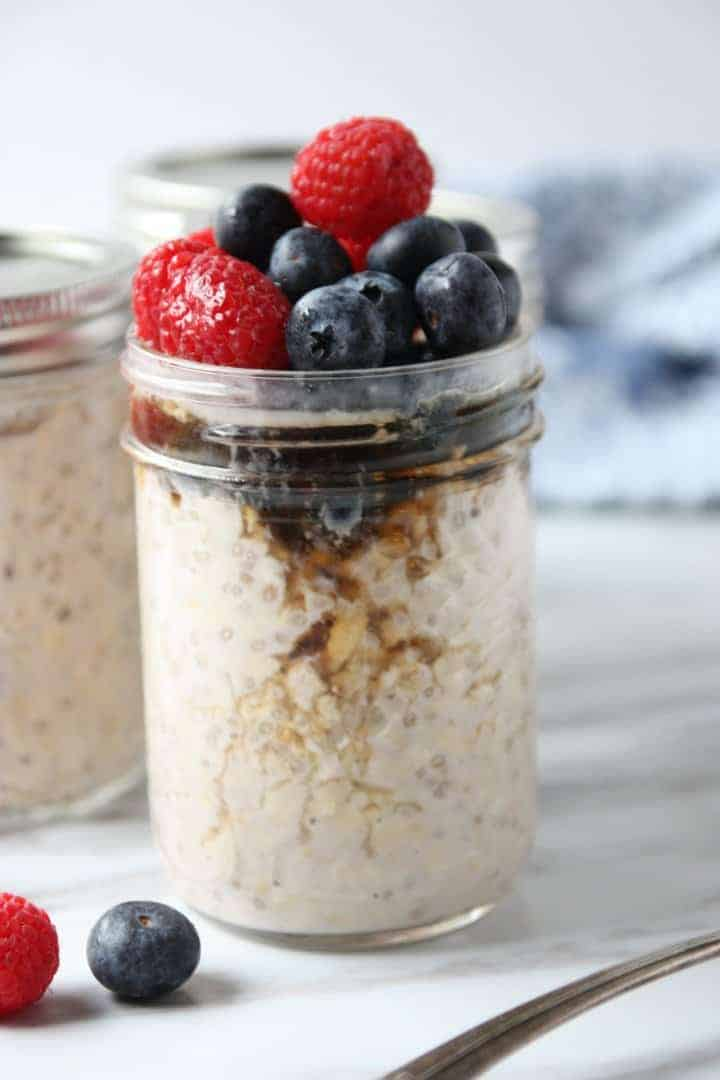 Overnight oats with blueberries and raspberries