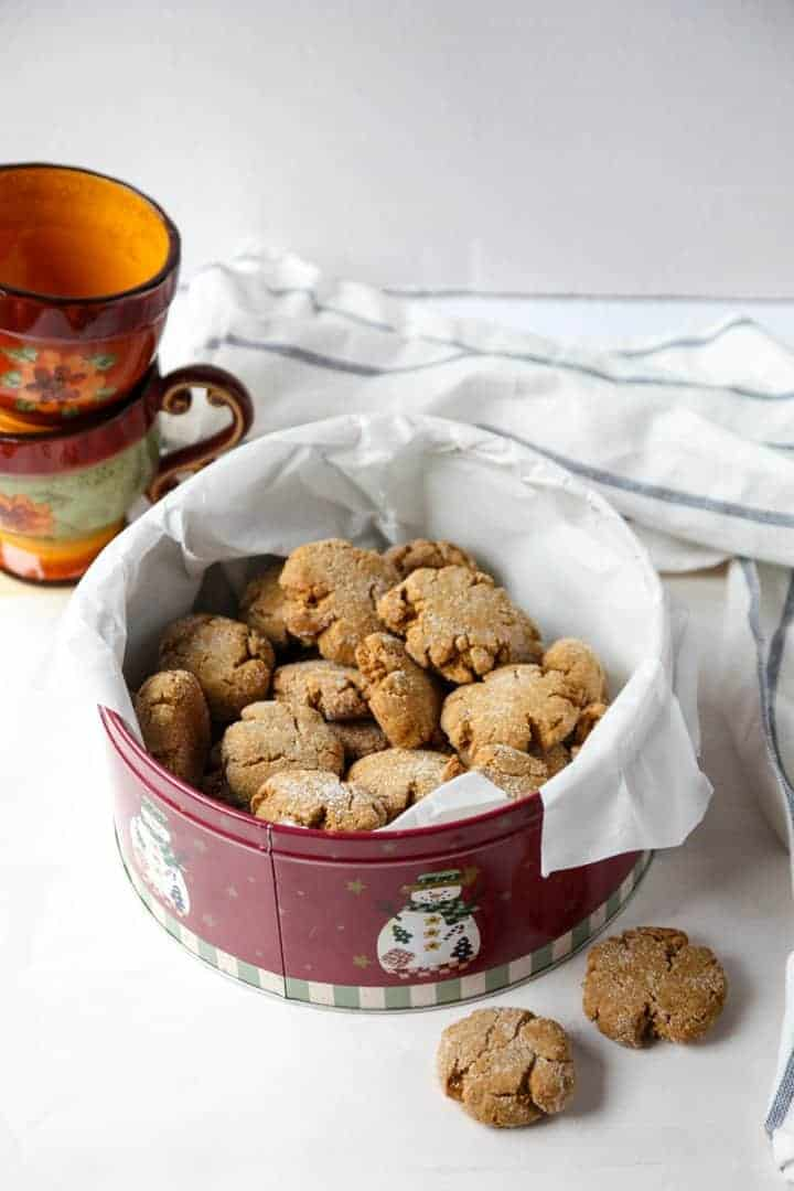 Ginger Cookies in a red tin with snowmen pictures