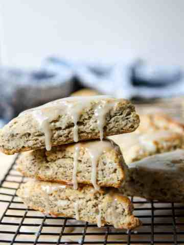 stack of three glazed earl grey scones