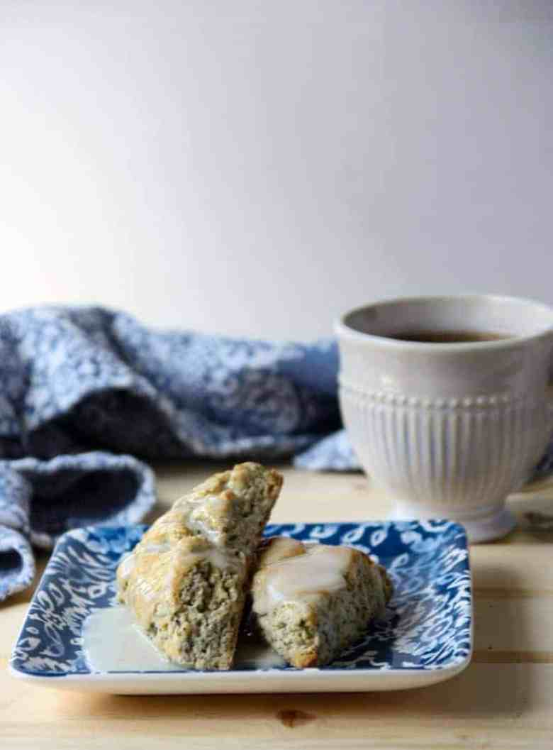 Earl Grey Scones on a plate with a cup of tea