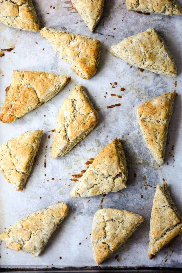 Baked scones on a baking sheet