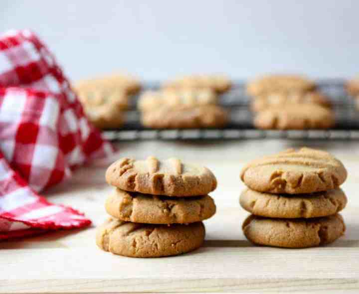 two stacks of three homemade peanut butter cookies