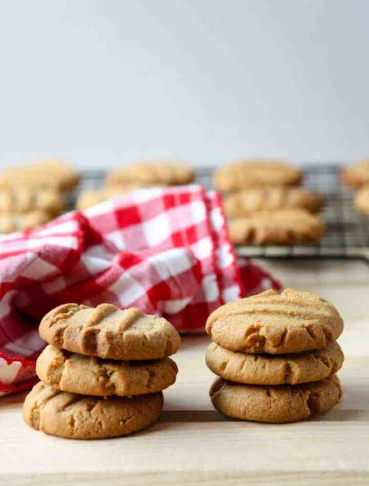 Two stacks of cookies on a table