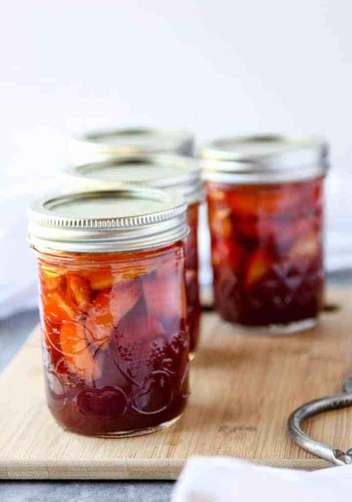 Three jars of pickled rhubarb
