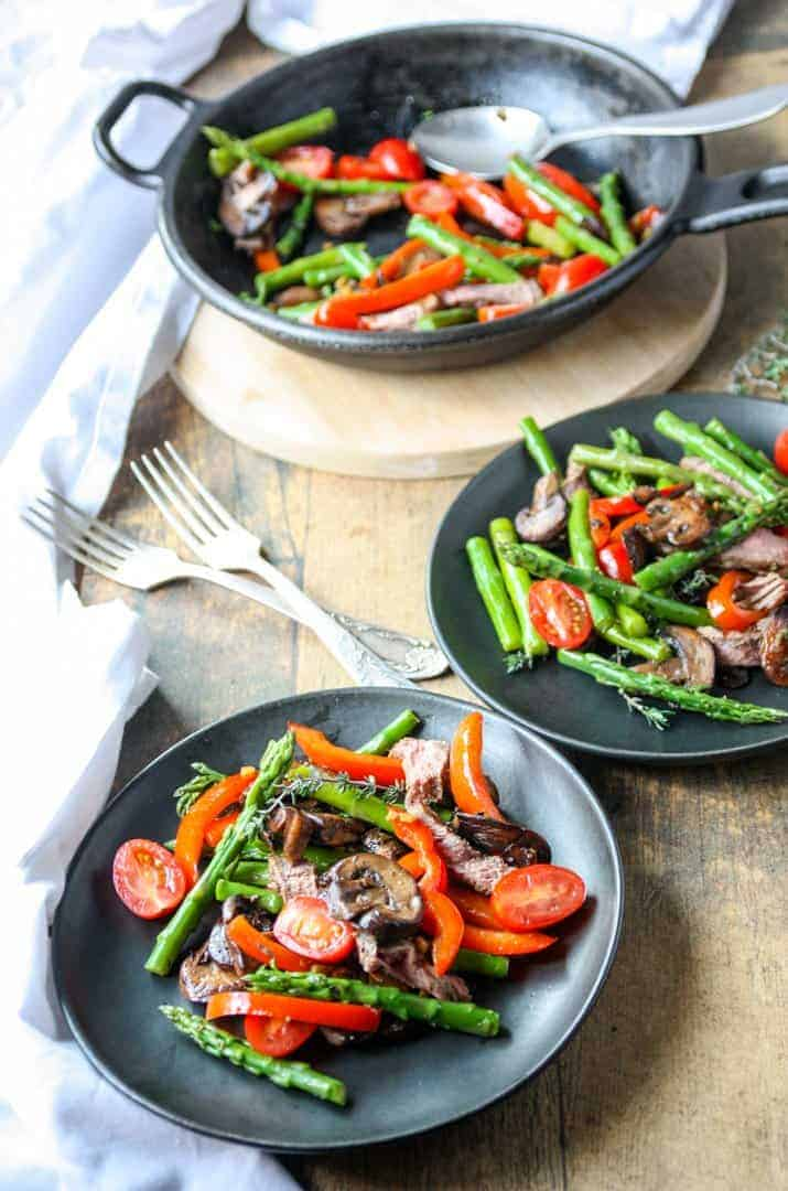 A bowl of food on a plate, with Steak and vegetables