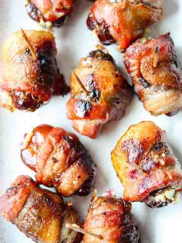 Bacon wrapped dates stuffed with cheese