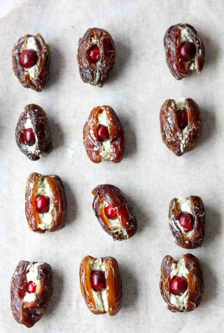 Dates stuffed with cheese and cranberries