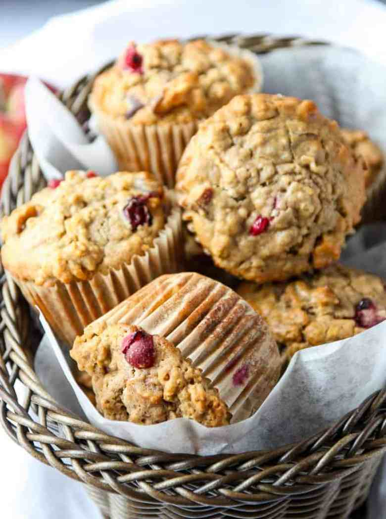 Cranberry Apple Oatmeal Muffins in a basket