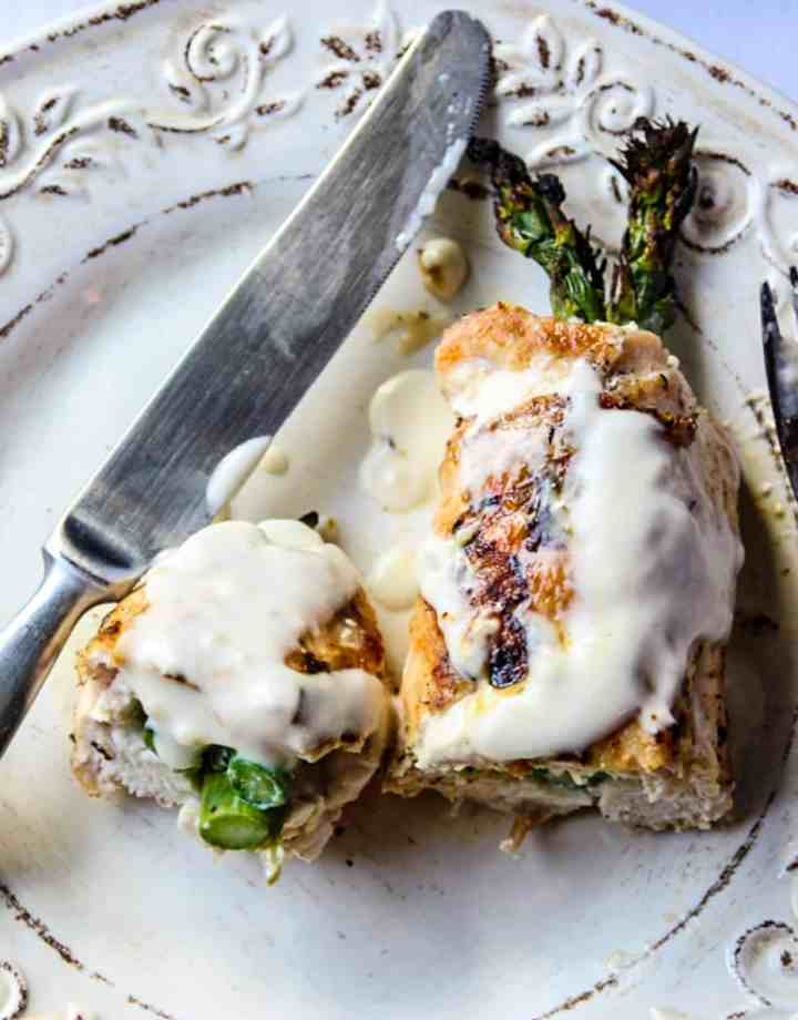 Grilled chicken and asparagus on a white plate.