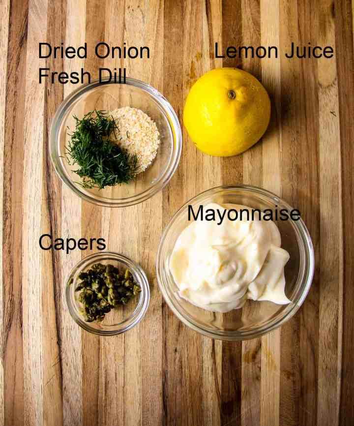 The ingredients to make easy tartar sauce.