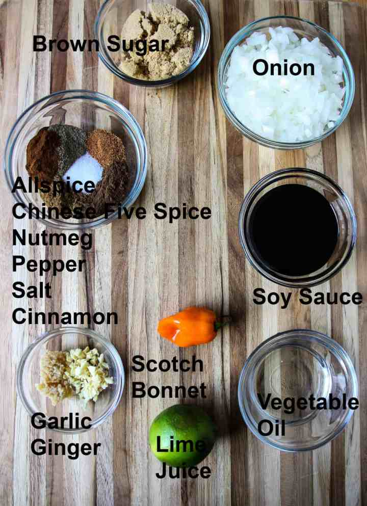 Ingredients for the marinade on a wooden board.