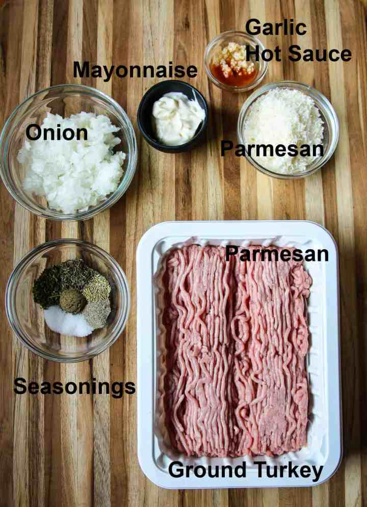 The ingredients to make the recipe assembled on a wooden board.