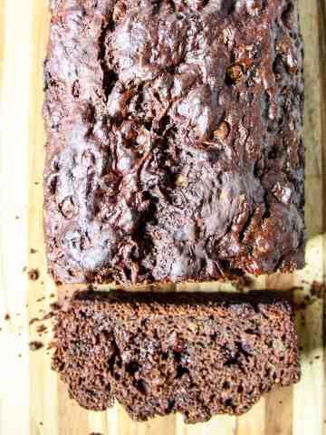 A loaf of gluten-free chocolate zucchini bread.