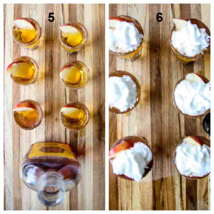 Steps five and six to make the apple pie shooters.