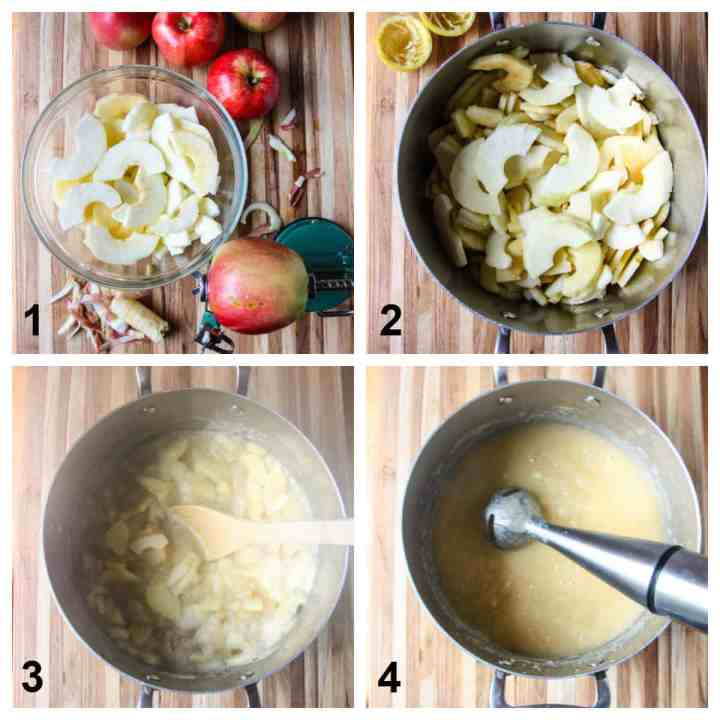 The first four steps to making the recipe.